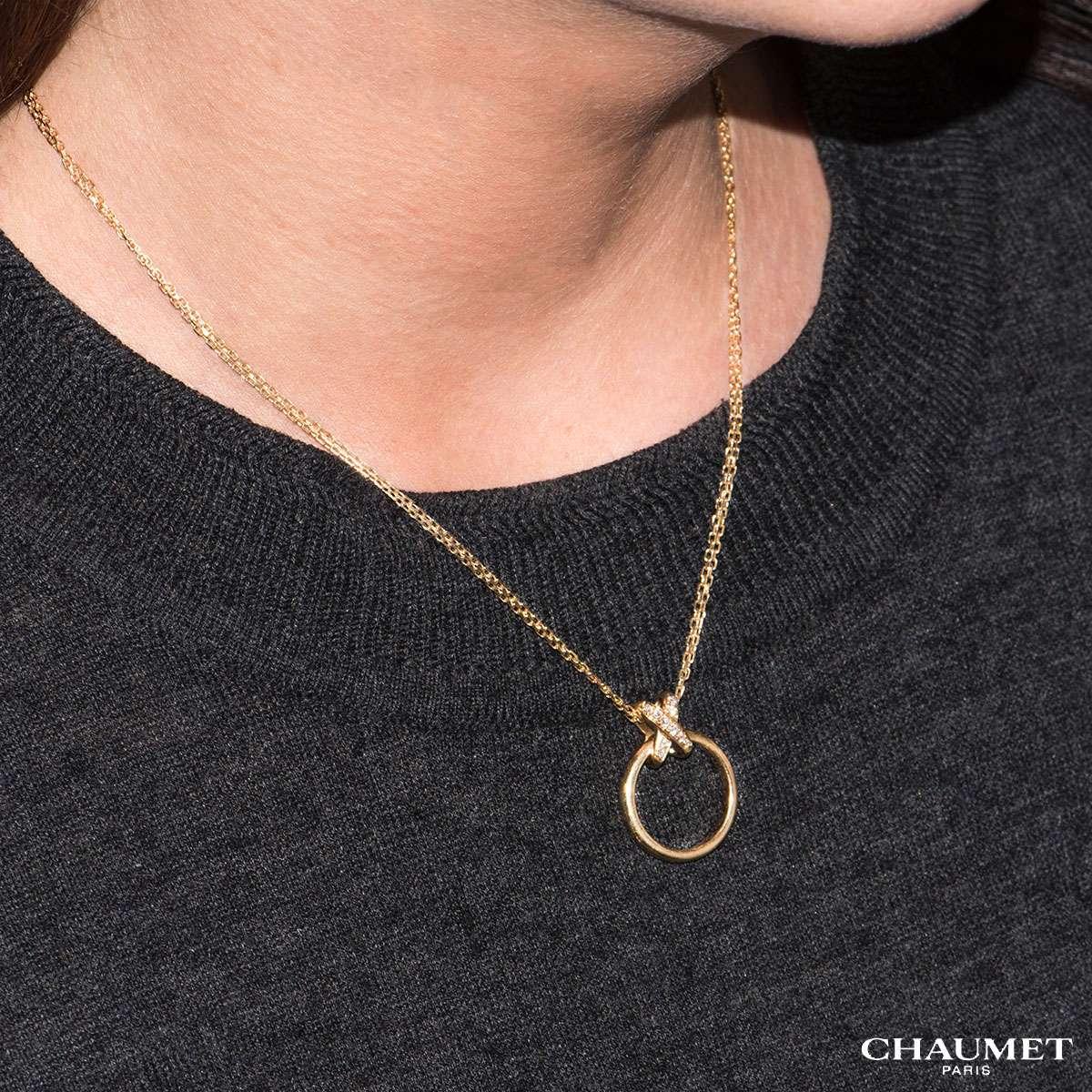 Chaumet 18k Yellow Gold Diamond Set Liens Pendant
